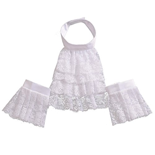 BLESSUME White Colonial Lace Jabot Cuffs Set Costume