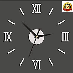 Large DIY Wall Clock 3D Modern Frameless Mute Wall Clock with Mirror Acrylic Numbers Stickers for Living Room Bedroom Home Office Decorations Gift (Silver)