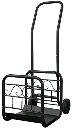 Uniflame, W-1058, Large Black Wrought Iron Log Rack with Wheel and Removable Cart by Uniflame