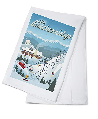Ski Breckenridge, Colorado - Retro Ski Resort (100% Cotton Kitchen Towel)