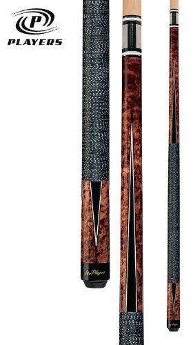 Players G-1003 Umbra Super Birds-Eye Maple with Black and White Points Cue, 19-Ounce