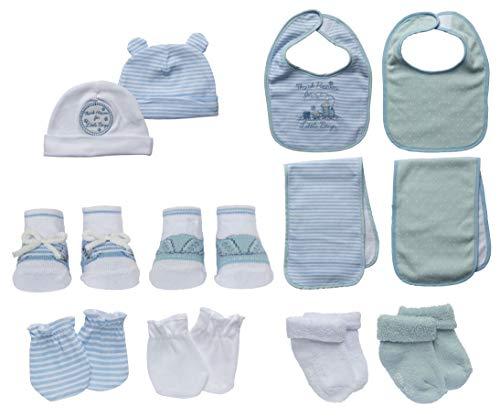 Little Me 13 Piece Take Me Home Set, Blue/White, 0-12 Months - Layette Hat Cap