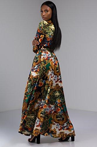 AKIRA Modest Multi Cinch Silky Print Women's Long Maxi Dress Black Cuff Wrap Baroque Sleeve nq0w1rZgnx