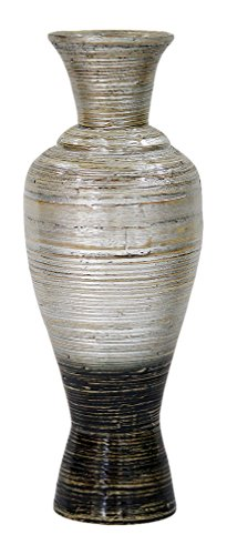 Heather Ann Creations W33931-SWD Hand Crafted Spun Bamboo Large Decanter Vase, Silver/Black