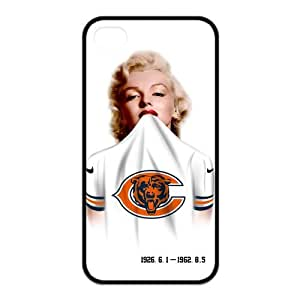 Chicago Bears Apple iPhone 4 4S Case, diy & customized Marilyn Monroe in Chicago Bears Jersey Personalized iPhone 4 4S Black Silicone Protective Case Cover at Private-custom