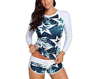 be-my-guest Surfing Long Sleeve Swimsuits for Women Star Print Quick-Drying Surfing Swimwear Sport Two Piece Swimsuit