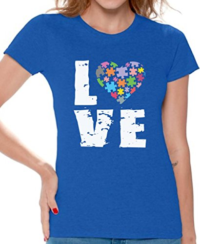 (Awkward Styles Women's Love Puzzles Autism Awareness Graphic T Shirt Tops Autistic Support Blue)