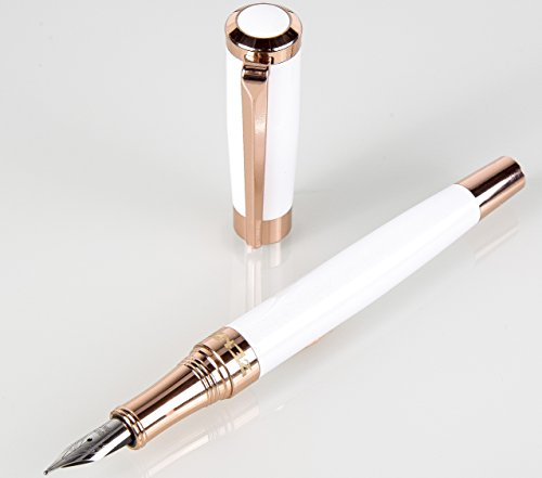 Fountain Pens Set Fine Nib Elegant with Case and Modern Ink Refill Converter for Signature Writing - CASHMERE WHITE -You Get FREE Gift eBook Luxury Pen 3 Amazing Color Options 100%