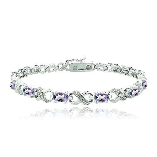 Silver Tone 5.25ct TGW Amethyst & Diamond Accent Infinity - Bracelet Diamonds Sparkling