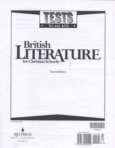 British Literature Tests Grd 12 2nd Edition