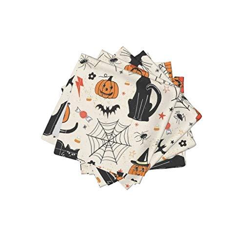 Halloween Organic Cotton Sateen Cloth Cocktail Napkins - Black Cat Bats Jack O Lantern Trick Or Treat Hallows Eve Pumpkin by Juniperr (Set of 4) 10 x 10in
