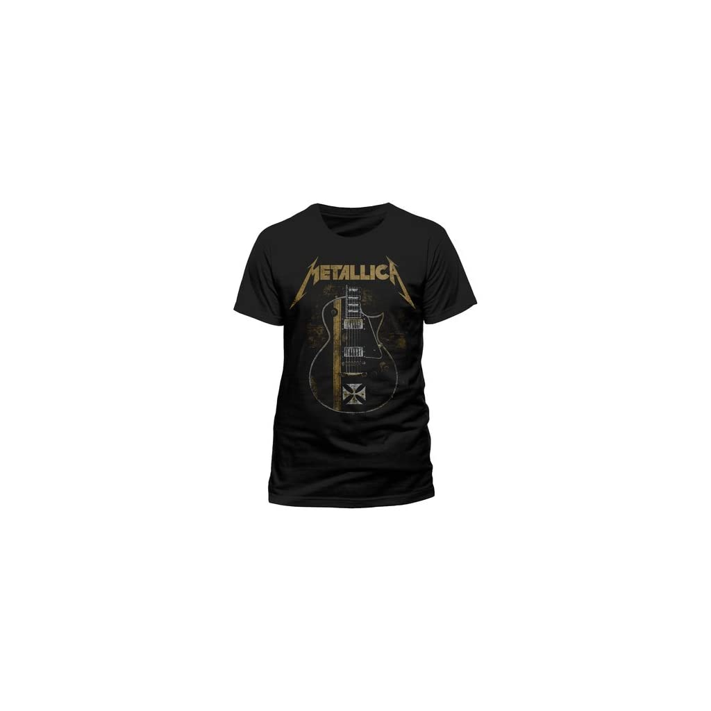 Metallica Hetfield Iron Cross Guitar Camiseta