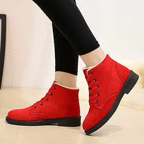 Mujer Más Rojo De Casual Nieve Algodón Martin Shoe Damas Invierno Botas Phy wFIg4I