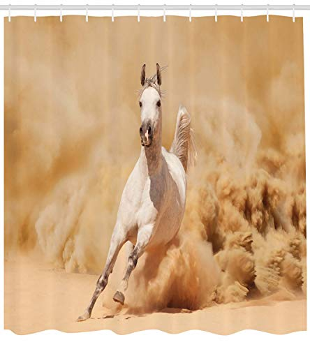 Ambesonne Animal Decor Collection, Arabian Horse Breed Running Out of the Desert Storm Sand High Tail Creature Nature Photo, Polyester Fabric Bathroom Shower Curtain Set with Hooks, Cream White