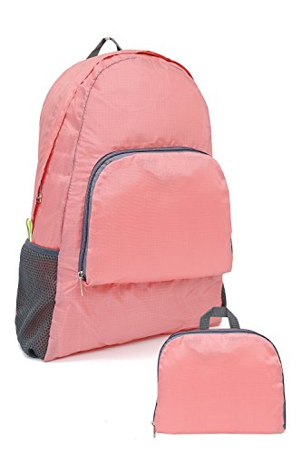 ARUNGOR Ultra Lightweight Foldable Backpack Small Hiking Daypack Unisex Handy Packable Outdoor Rucksack Travel Bag for Men & Women Perfect For Camping Cycling Biking (Pink) Review