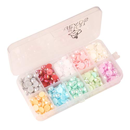 Meicry Beads Mixed 3D Half Round ab Flatback Pearl Beads Nail Jewelry Box Colorful Spherical Ceramic Pearls for Decoration Nails Art(8mm 850pcs) by Generic