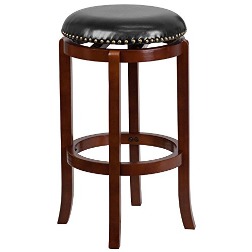 Back Swivel Custom Stool Bar - Flash Furniture 29'' High Backless Light Cherry Wood Barstool with Black Leather Swivel Seat