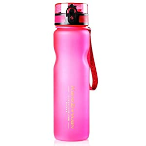 LANPA Colorful Sports Water Bottle - 36oz Large - Fast Flow, Flip Top Leak Proof Lid , Non-Toxic BPA Free & Eco-Friendly (Pink)