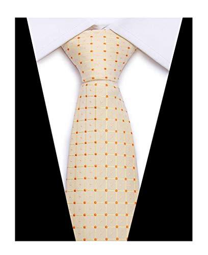 Men's Slim Cream Plaid Woven Polyester Ties Orange Pin Dots Party Dress ()