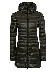 Wantdo Women's Lengthed Hooded Down Jacket Light Down Outwear Coat