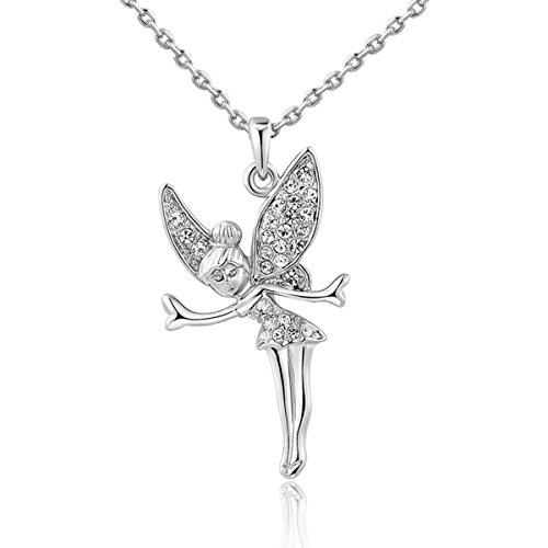 Octopus Costume Diy (AROUND 101 AAA Zircon Angel Girl Austrian Crystal Pendant Necklace--You Are My Angel (Silver))