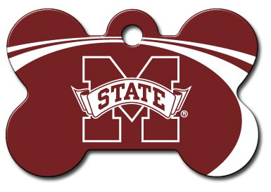 Personalized Laser Engraved 1.5 x 1 inch Mississippi State Bulldogs Bone Shape Pet ID Tag- Free Tag Silencer by dogIDS