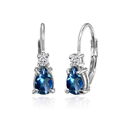 Sterling Silver London Blue and White Topaz Dainty Teardrop Huggie Leverback (Blue Teardrop Earring)