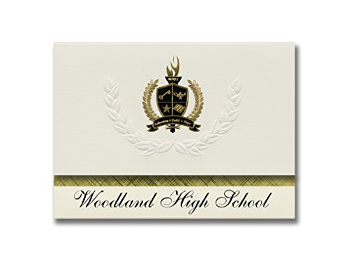 Signature Announcements Woodland High School (Fairfax, OK) Graduation Announcements, Presidential style, Basic package of 25 with Gold & Black Metallic Foil - Ok Woodland