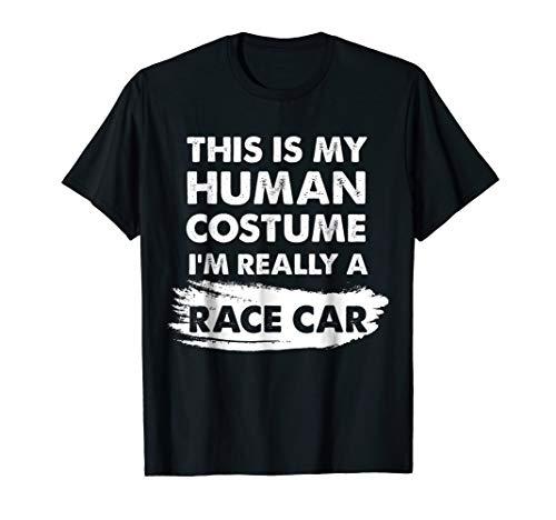 Mens This Is My Human Costume I'm Really a Race Car Shirt Medium Black