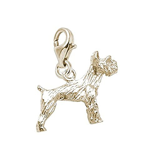 14K Yellow Gold Schnauzer Dog Charm With Lobster Claw Clasp, Charms for Bracelets and Necklaces