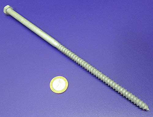 3//8 Thread x 10.00 Length Grade 2 Hot Dipped Galvanized Steel Lag Screws Partially Threaded 10 pcs.