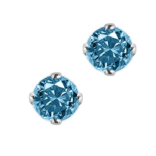 1 1/2 ct. Blue – I1 Round Brilliant Cut Diamond Earring Studs in 14K White Gold