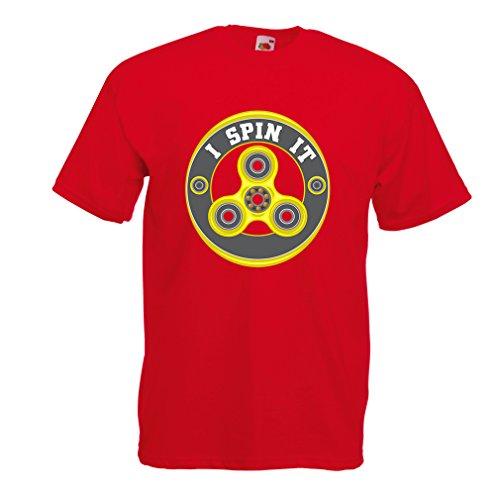 Camisetas hombre I Spin it - para Fidget Hand Spinner Juguete ventiladores (Large Rojo Multicolor)