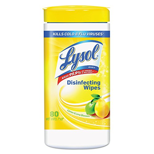 Lysol 77182EA Disinfecting Wipes,80 Wipes/Tub, Lemon/Lime Blossom