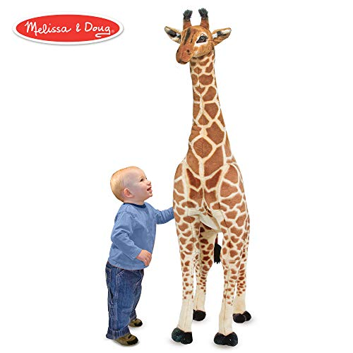 Plush Standing Giraffe - Melissa & Doug Giant Giraffe (Playspaces & Room Decor, Lifelike Stuffed Animal, Soft Fabric, Over 4 Feet Tall)