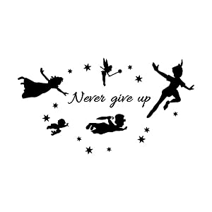 YJYDADA Wall Stickers,Never Give Up Removable Art Vinyl Mural Home Room Decor Wall Stickers,83cm x 45cm (Black)