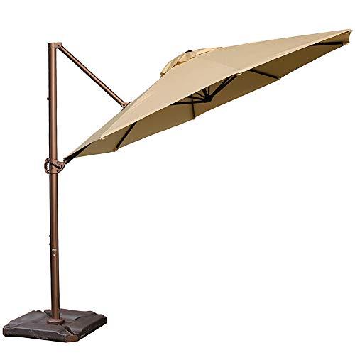 Abba Patio Sunbrella Offset Cantilever Umbrella 11-Feet Outdoor Patio Hanging Umbrella with Cross Base, Off White