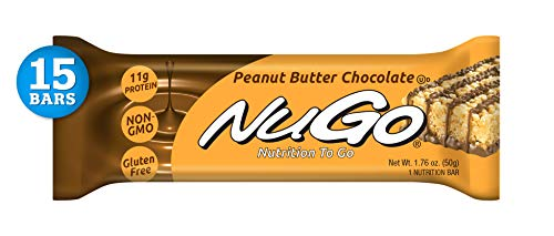 NuGo Protein Bar, Peanut Butter Chocolate, 11g Protein, 170 Calories, Gluten Free, 15 Count (Best Chocolate Peanut Butter Bars)