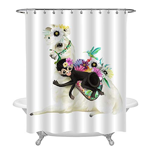 (MitoVilla Boho Llama Shower Curtain, 3D Mexico Alpaca with Flower Bouquet Hummingbird and Black Monkey Watercolor Painting, Whimsical Animal Kitchen Decor for Baby Nursery, Colorful, 72