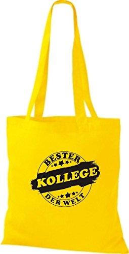 ShirtInStyle Bolso de tela Bolsa de algodón Bester COLEGA der Welt Amarillo