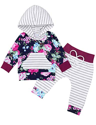Newborn Baby Girl Clothes Long Sleeve Floral Hoodie Sweatshirt Top +Striped Pants Outfits Set with Kangaroo Pocket