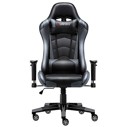 JL Comfurni Gaming Chair Executive Office Chair Reclining High-Back Ergonomic PU Leather Desk Chair Racing Swivel Computer Chair with Adjustable ...