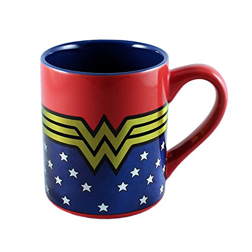 Silver Buffalo WW9032Z DC Comics Wonder Woman Logo Wrap Around with Stars Laser-Printed Ceramic Mug, 14-Ounces