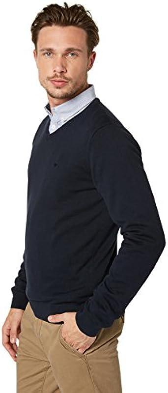 TOM TAILOR Basic męski sweter z dekoltem w serek: Odzież