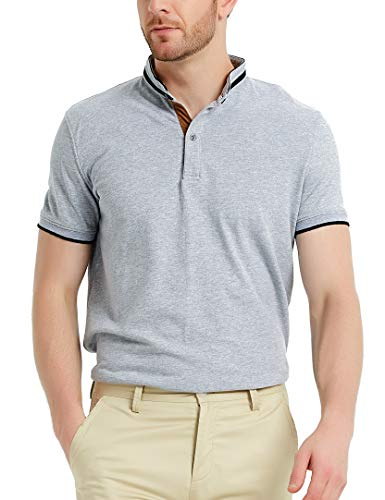 Navifalcon Polo Shirts for Men 100% Cotton Mens Basic Pique Collared T Shirts Casual Slim Fit Heather Grey XXL ()