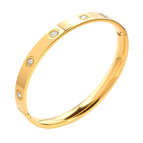 7' Bracelet Jewelry (JOVO LOVE ❤Mother's Day Gift Jewelry 18K Gold Love Bangle Bracelets For Women Set In Stone Stainless Steel Crystal Love Bracelet Band Jewelry Gift Promotion Size 7'')