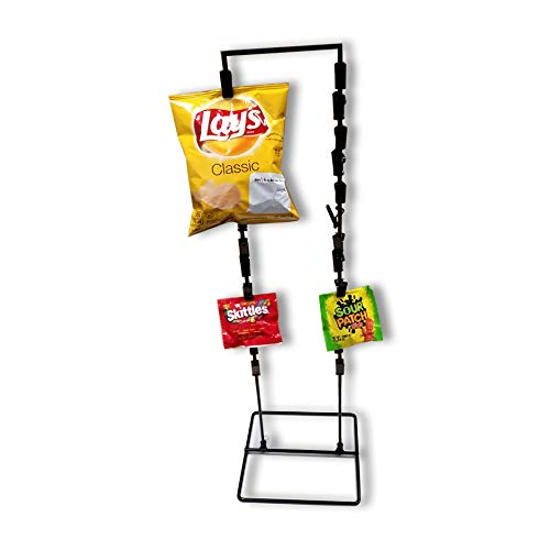 (26 Clip Strip Counter Top Wire Display Stand, 2 Strand Potato Chip Snack Rack - Black)