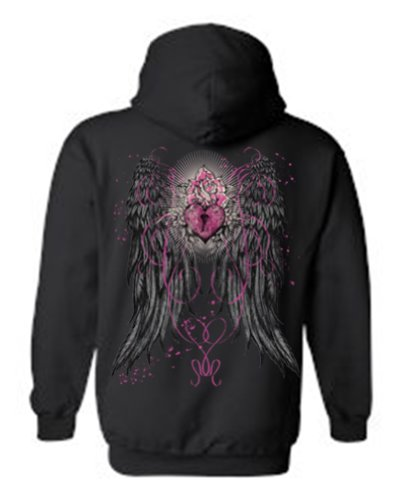 [Women's/Unisex Zip-Up Hoodie Beautiful Angel Wings With Heart Lock and Rose BLACK ( Large)] (Fairy Wing Tattoos)