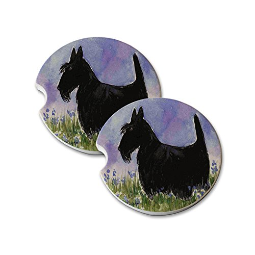 Natural Sandstone Car Drink Coasters (set of 2) - Black Scottish Terrier with Blue Flowers Scottie Dog Art by Denise Every