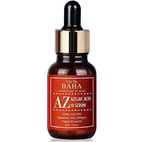 Azelaic Acid 10% Serum 1oz with Niacinamide - Rosacea Skin Care Product + Reduce Cystic Acne Scar + Redness Relief Face + Pimple Pigmentation Blackhead + Vitamin B3 + B5, Gluten Free, 1oz (30ml)